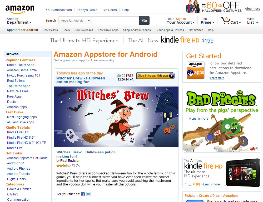 Witches' Brew selected for Amazon's Free App of the Day promotion